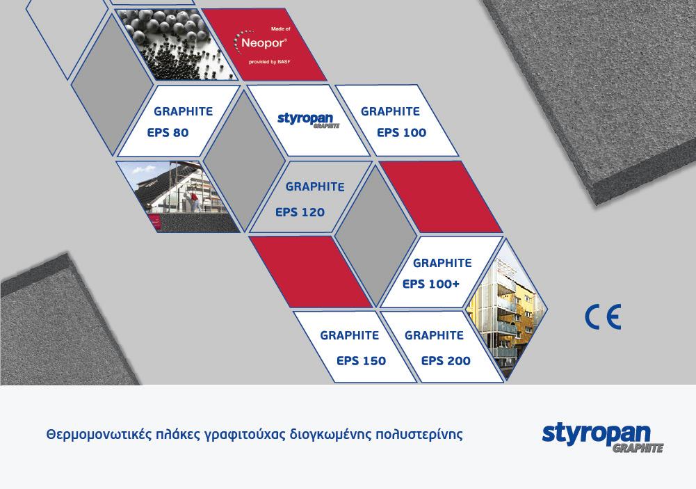 Τύποι προϊόντων γραφιτούχας διογκωμένης πολυστερίνης Styropan Graphite και γκρι πλάκες