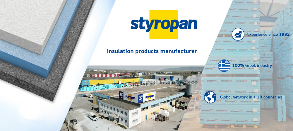 Styropan's facilities along with 3 primary insulating products that produces and a picture of extruded polystyrene panels packages
